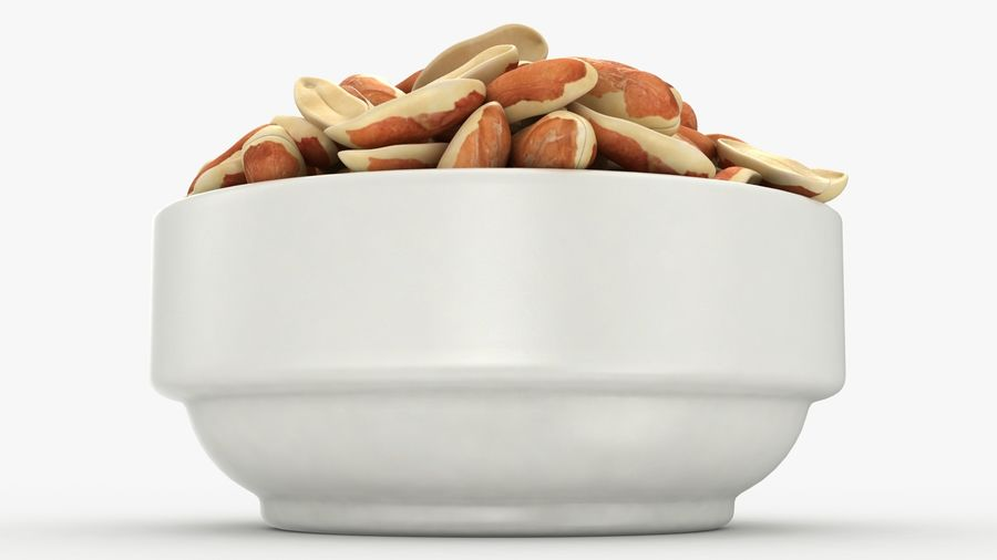 Peanuts with Peel in Bowl royalty-free 3d model - Preview no. 16
