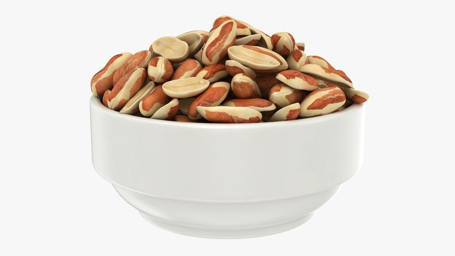 Peanuts with Peel in Bowl royalty-free 3d model - Preview no. 2