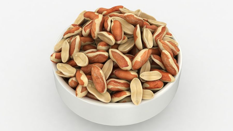 Peanuts with Peel in Bowl royalty-free 3d model - Preview no. 7