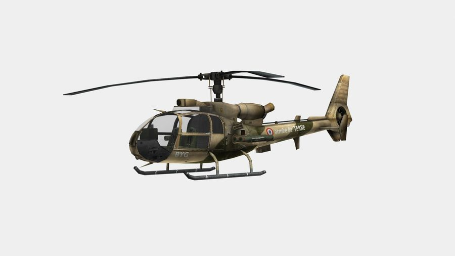 Helicóptero Gazelle royalty-free 3d model - Preview no. 3