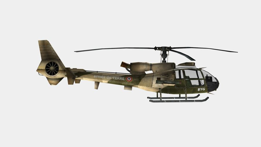 Helicóptero Gazelle royalty-free 3d model - Preview no. 8
