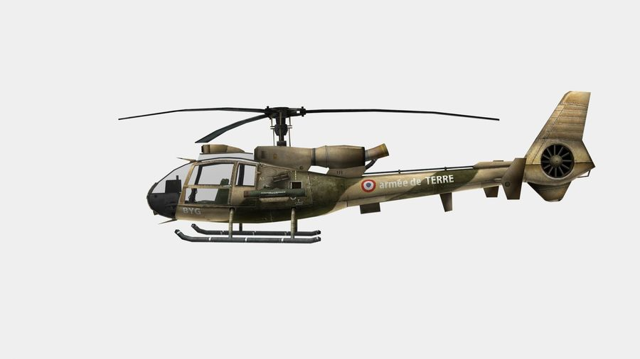 Helicóptero Gazelle royalty-free 3d model - Preview no. 4