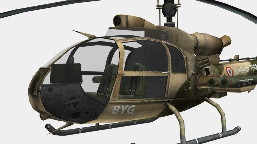 Helicóptero Gazelle royalty-free 3d model - Preview no. 11