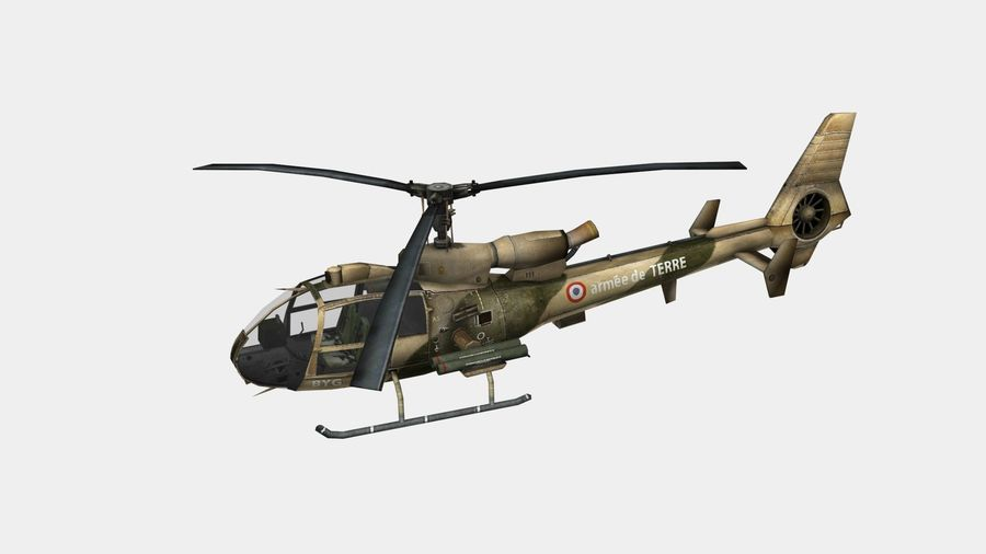 Gazelle helikopter royalty-free 3d model - Preview no. 2