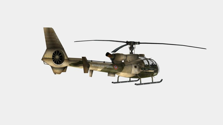 Helicóptero Gazelle royalty-free 3d model - Preview no. 7