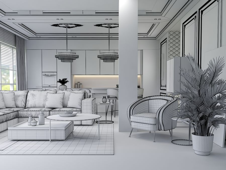 Living Room royalty-free 3d model - Preview no. 6