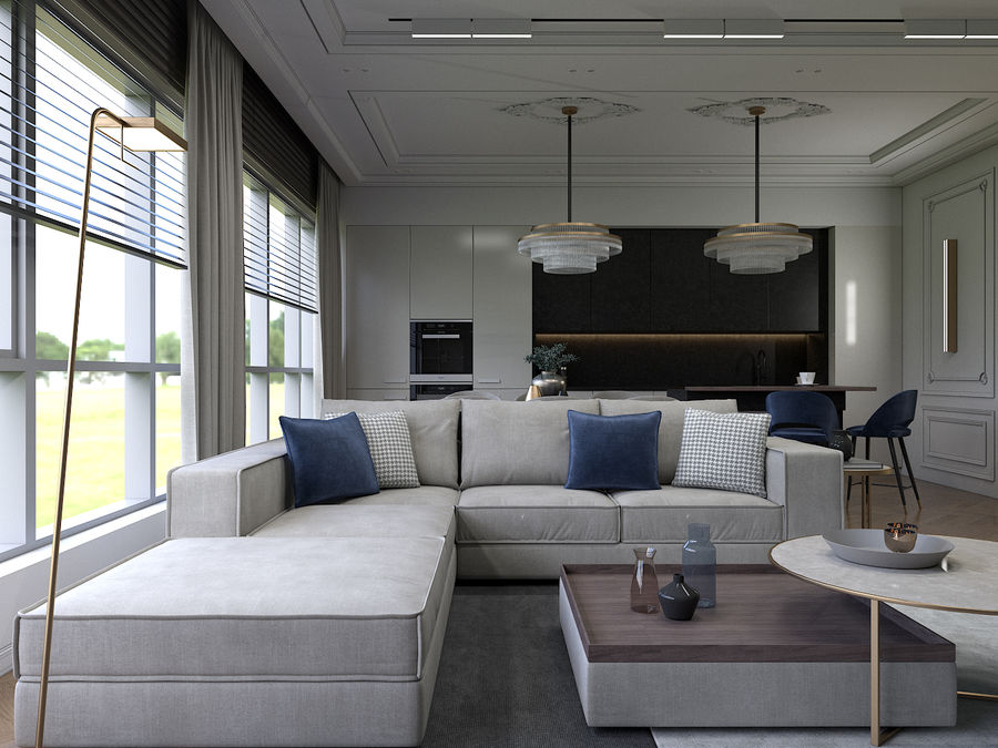 Living Room royalty-free 3d model - Preview no. 1