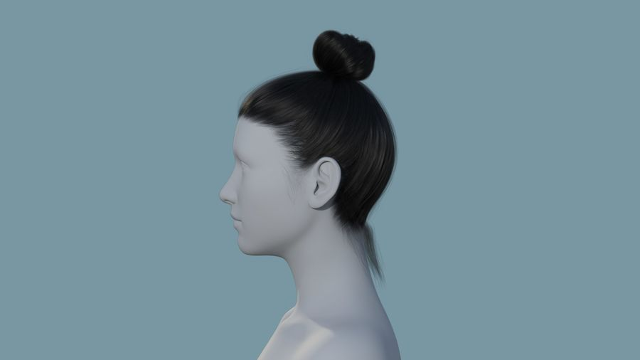 Realistic Female Polygon Hair 28 royalty-free 3d model - Preview no. 3