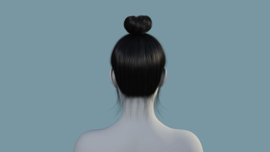 Realistic Female Polygon Hair 28 royalty-free 3d model - Preview no. 4