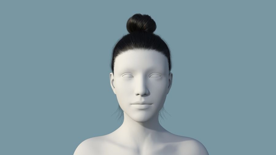 Realistic Female Polygon Hair 28 royalty-free 3d model - Preview no. 2