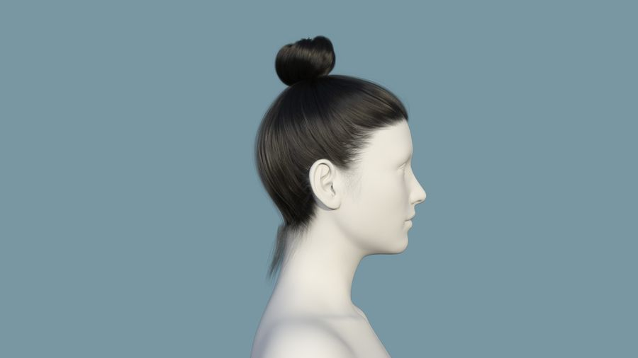 Realistic Female Polygon Hair 28 royalty-free 3d model - Preview no. 5