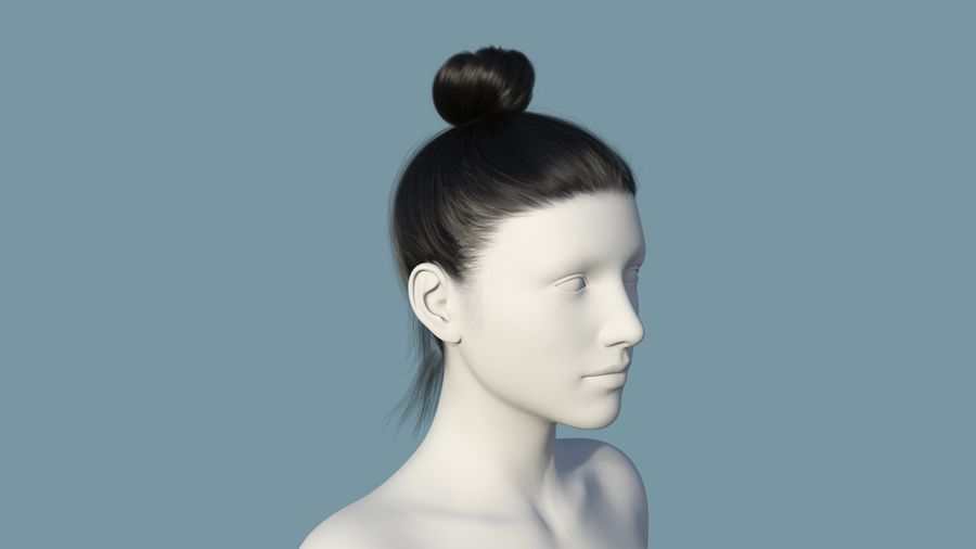 Realistic Female Polygon Hair 28 royalty-free 3d model - Preview no. 1