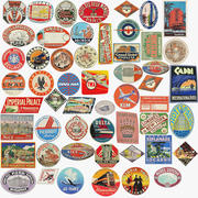 Vintage Bagage Stickers Set 3d model