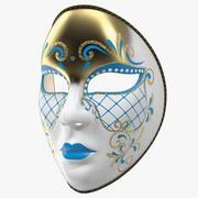 Blue Full Face Carnival Mask 3d model