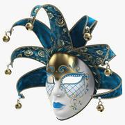 Blå venetiansk karnevalmaskering med full ansikte 3d model