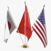 Настольные флаги США Китай Япония 3d model
