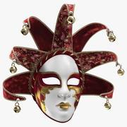 Röd venetiansk karnevalmaskering med full ansikte 3d model