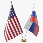 Tischfahnen USA und Russland 3d model