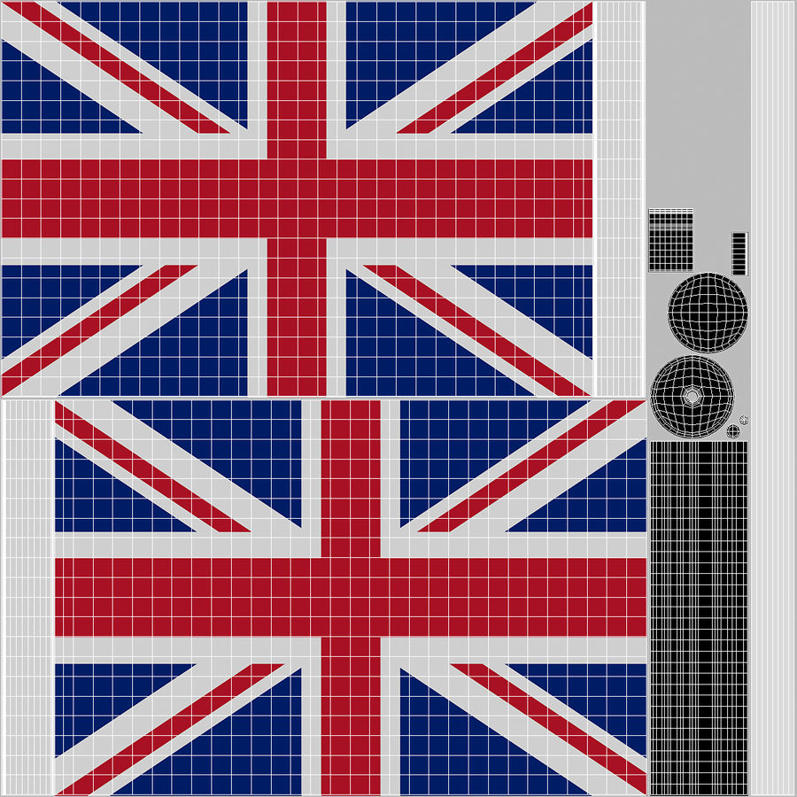 Table Flag United Kingdom royalty-free 3d model - Preview no. 12