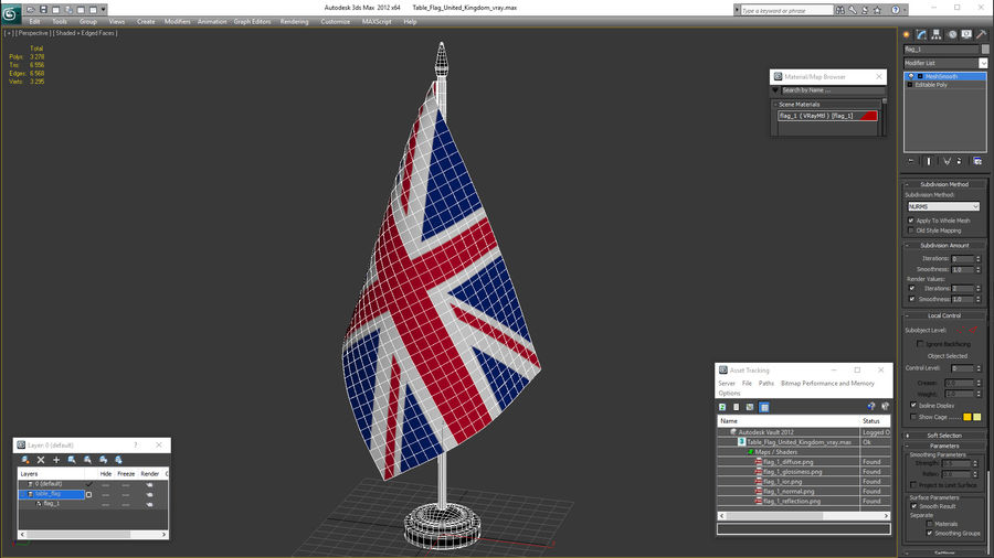 Table Flag United Kingdom royalty-free 3d model - Preview no. 16