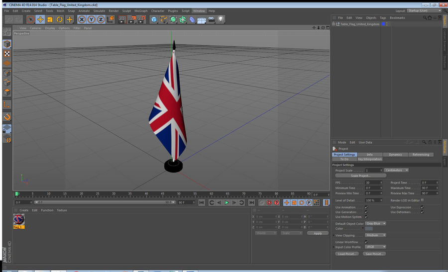 Table Flag United Kingdom royalty-free 3d model - Preview no. 15