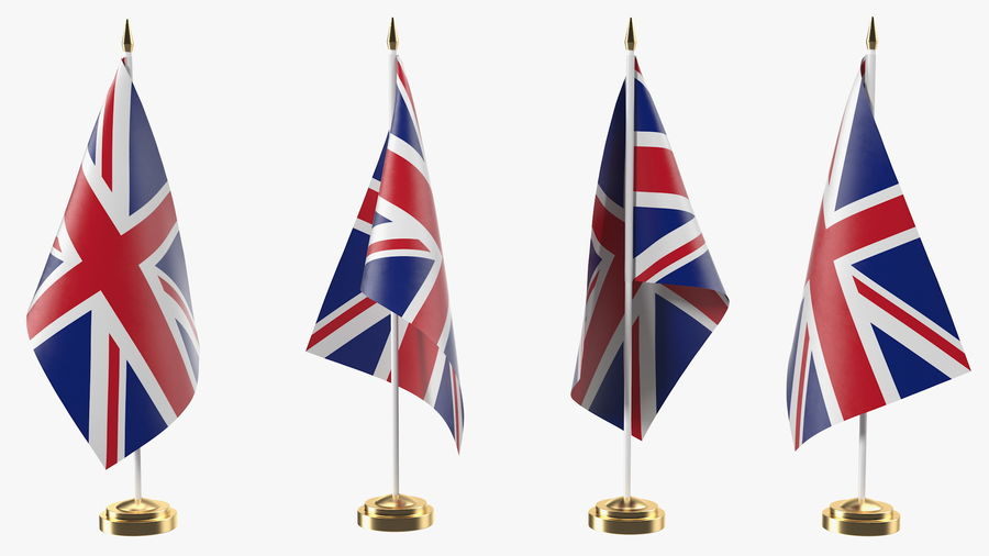 Table Flag United Kingdom royalty-free 3d model - Preview no. 2