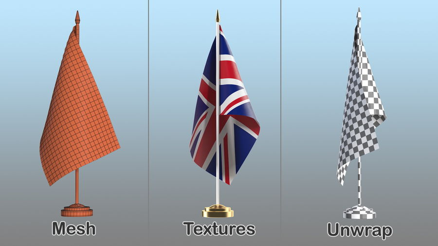Table Flag United Kingdom royalty-free 3d model - Preview no. 9