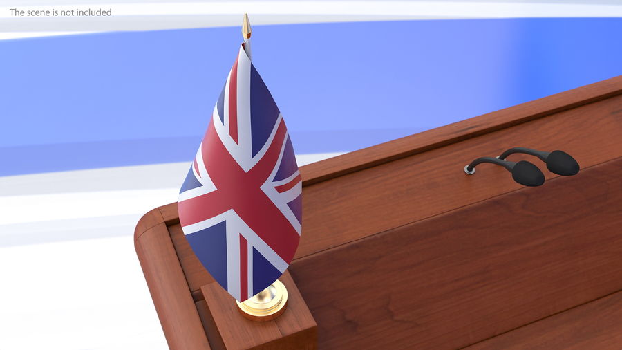 Table Flag United Kingdom royalty-free 3d model - Preview no. 5
