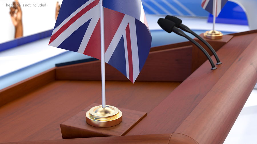 Table Flag United Kingdom royalty-free 3d model - Preview no. 4