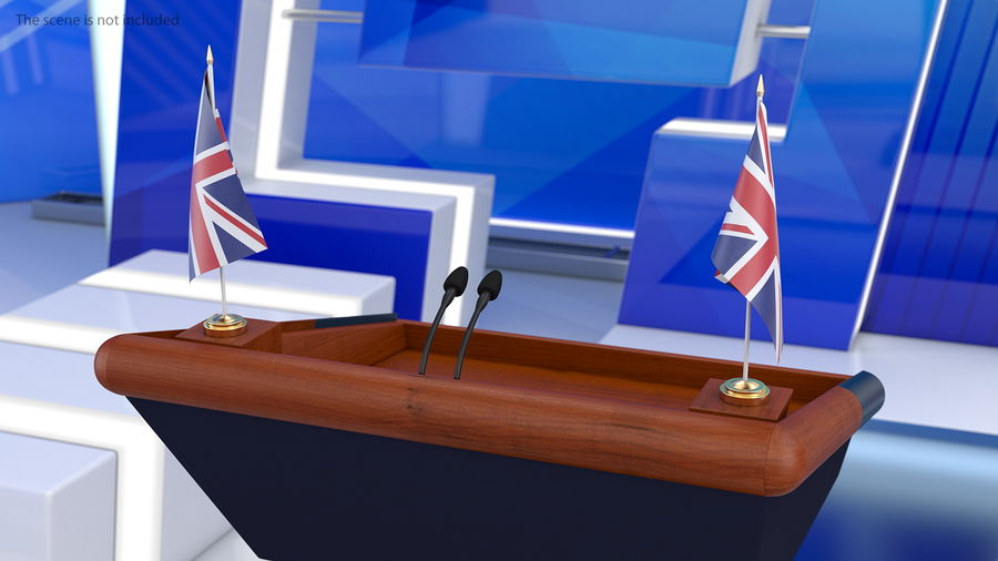 Table Flag United Kingdom royalty-free 3d model - Preview no. 3