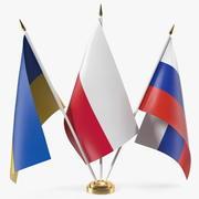 Drapeaux de table Russie Ukraine Pologne 3d model