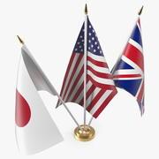 Table Flags United Kingdom USA Japan 3d model