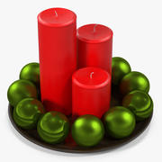 プレート上の赤い柱キャンドルクリスマスグリーンボール 3d model