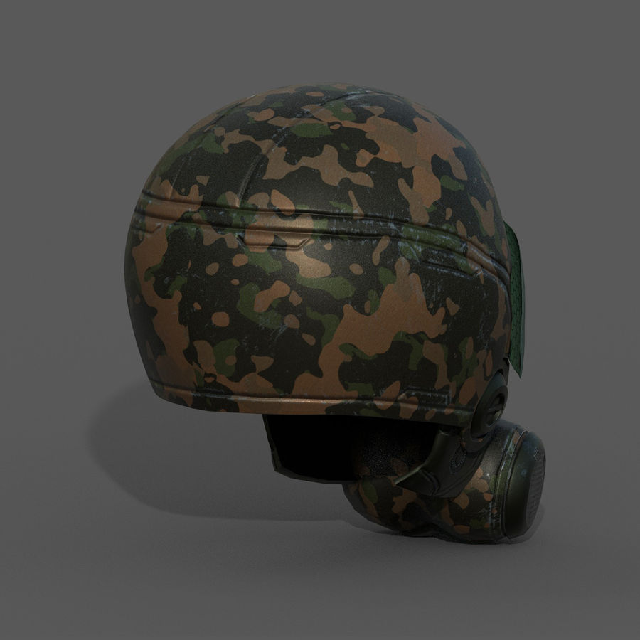 Helmet combat military Scifi fantasy space royalty-free 3d model - Preview no. 7