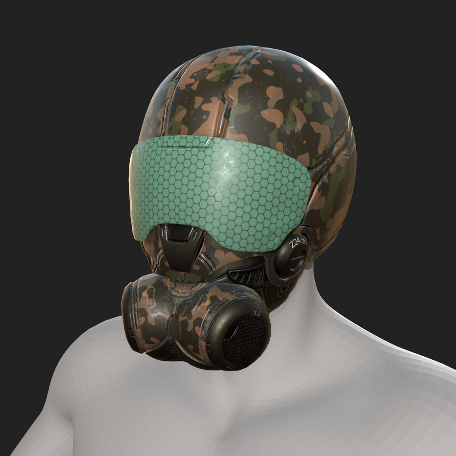 Helmet combat military Scifi fantasy space royalty-free 3d model - Preview no. 9