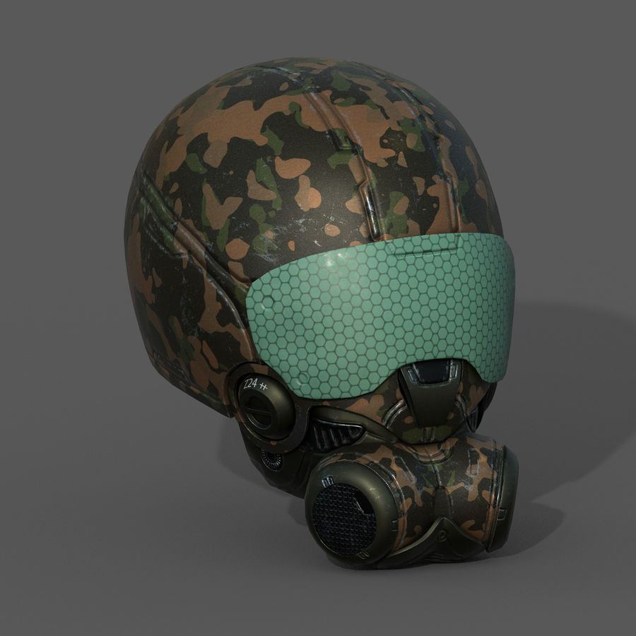 Helmet combat military Scifi fantasy space royalty-free 3d model - Preview no. 4