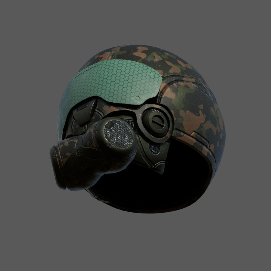 Helmet combat military Scifi fantasy space royalty-free 3d model - Preview no. 8