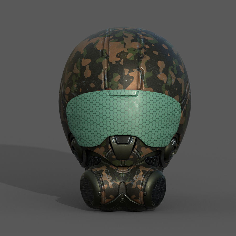 Helmet combat military Scifi fantasy space royalty-free 3d model - Preview no. 2