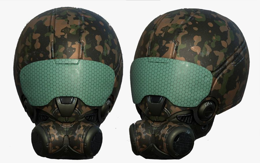 Helmet combat military Scifi fantasy space royalty-free 3d model - Preview no. 1