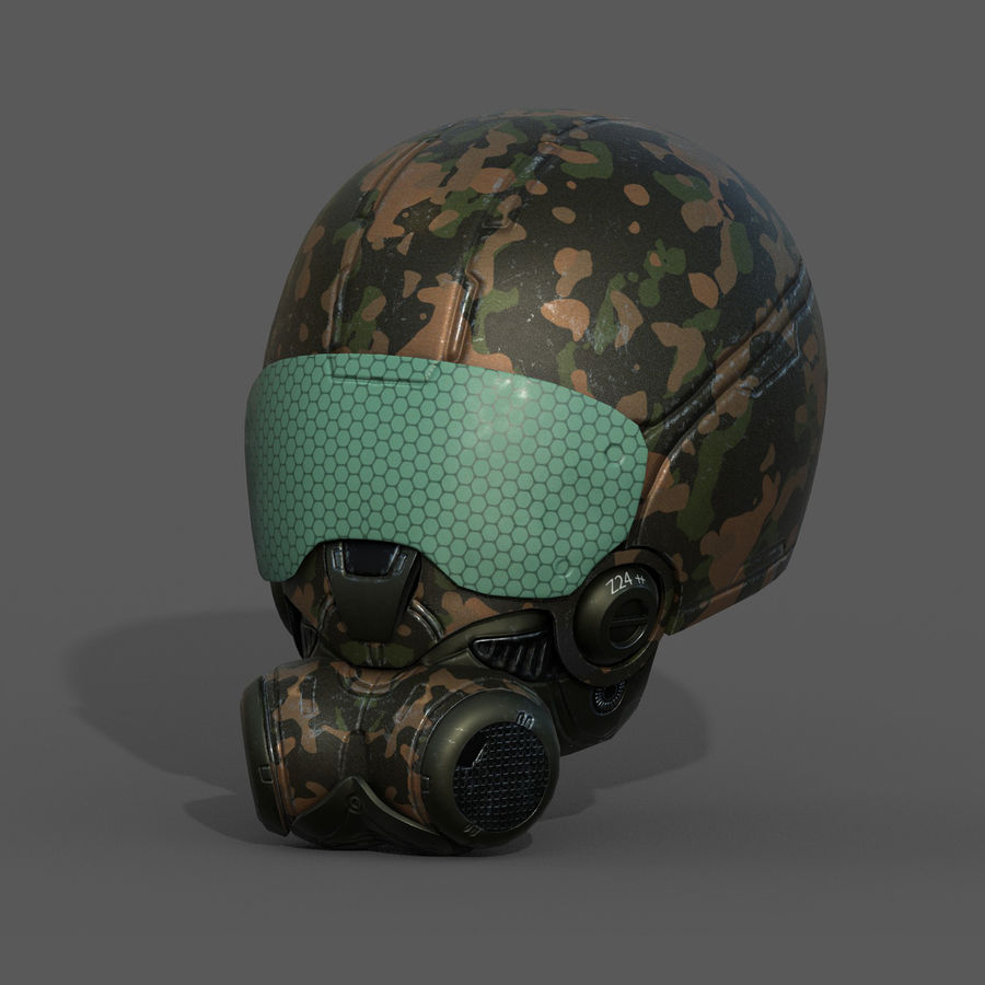 Helmet combat military Scifi fantasy space royalty-free 3d model - Preview no. 3