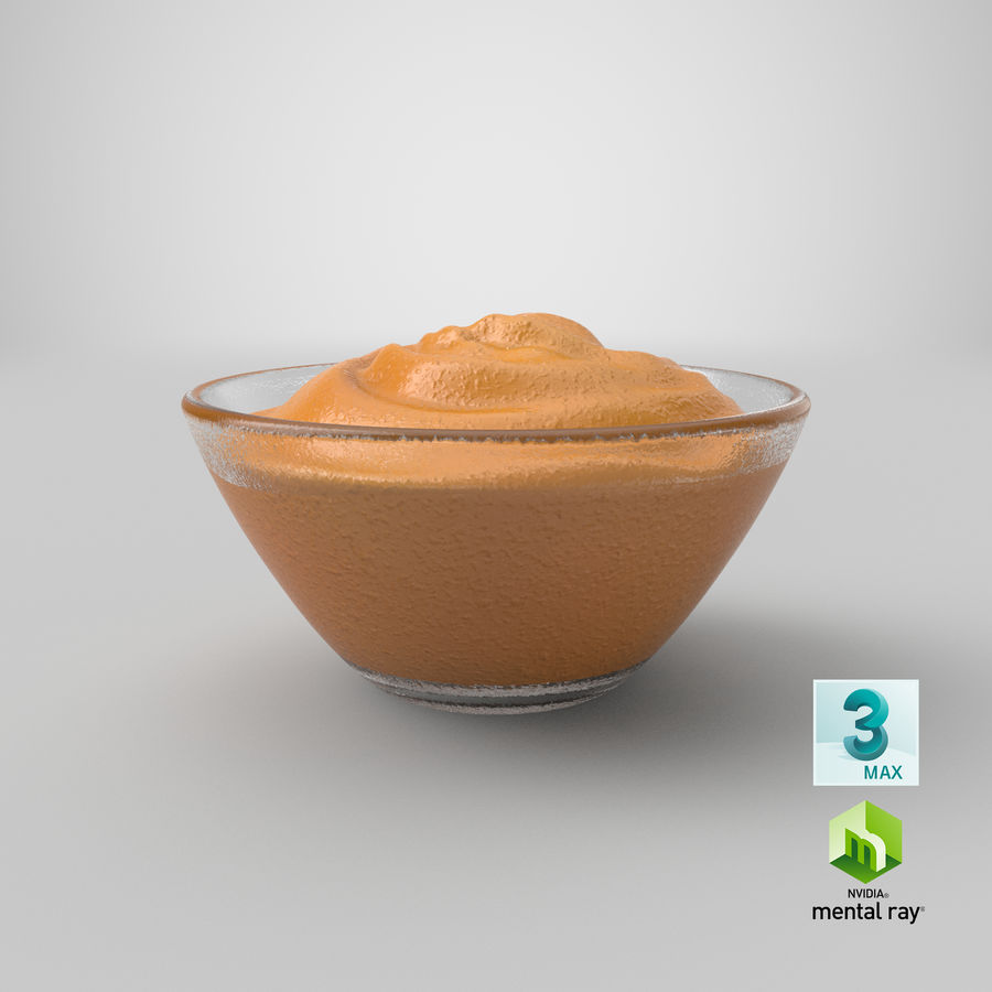 Peanut Butter in Bowl royalty-free 3d model - Preview no. 21