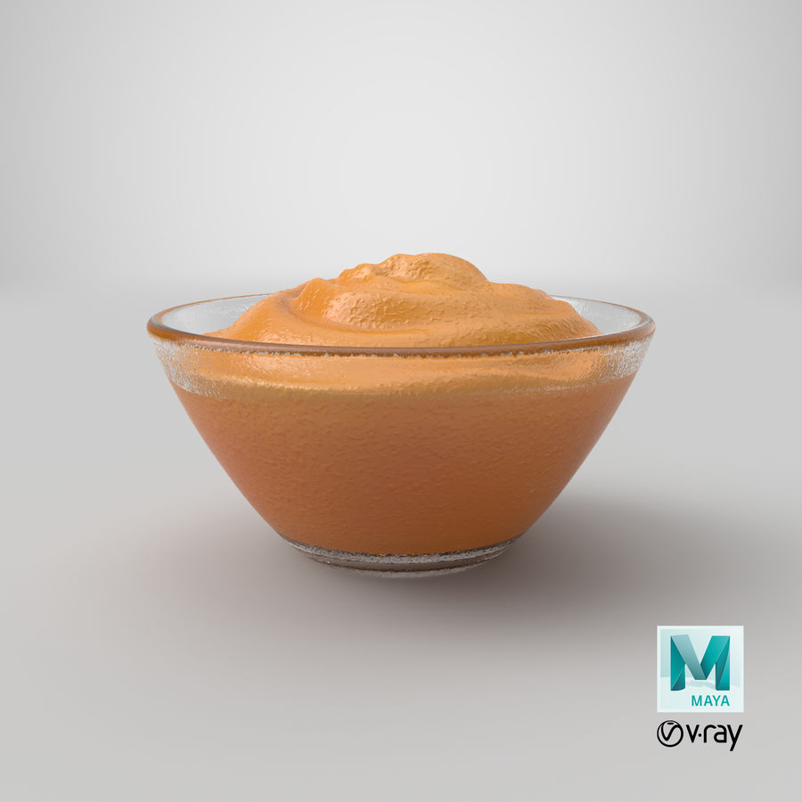 Peanut Butter in Bowl royalty-free 3d model - Preview no. 25