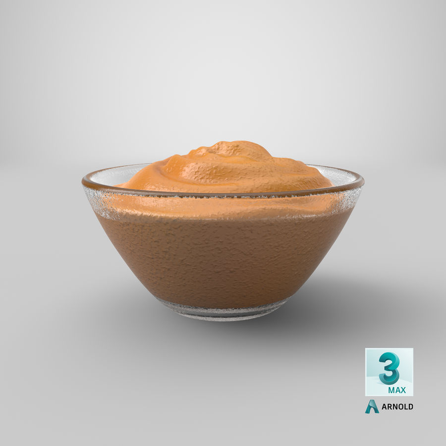 Peanut Butter in Bowl royalty-free 3d model - Preview no. 20