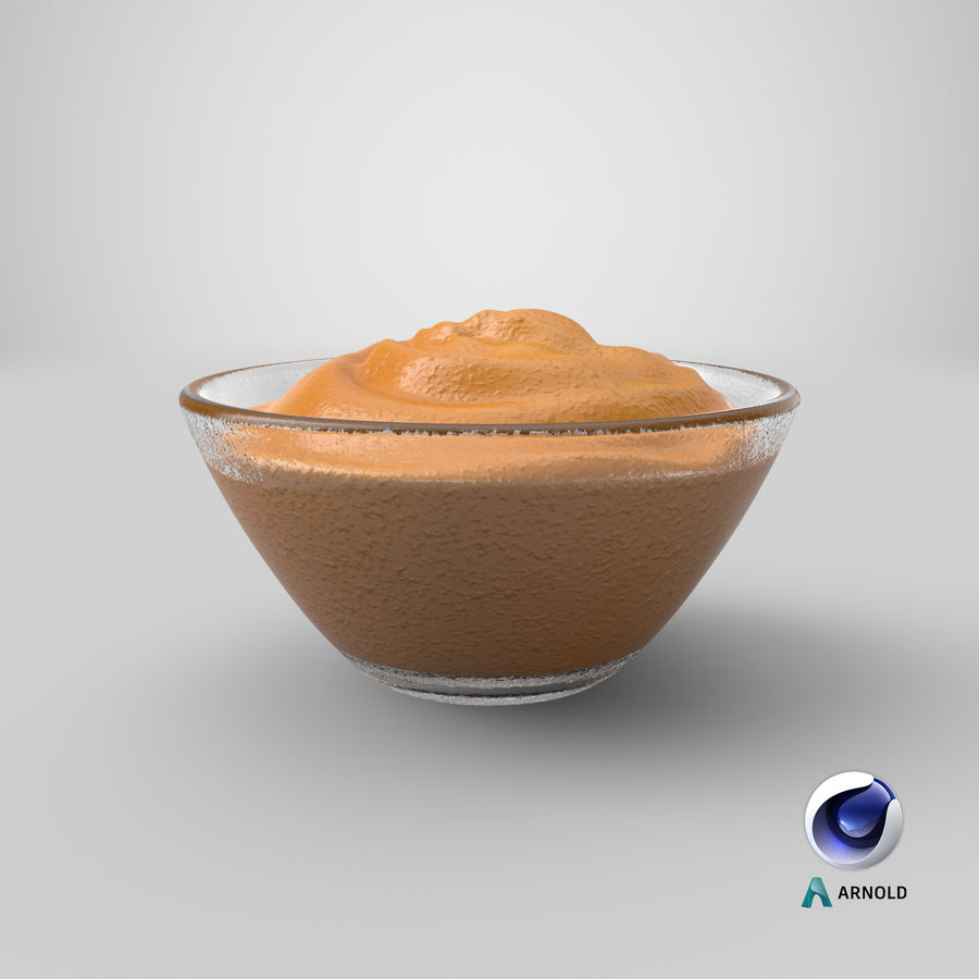 Peanut Butter in Bowl royalty-free 3d model - Preview no. 19