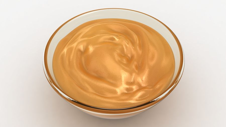 Peanut Butter in Bowl royalty-free 3d model - Preview no. 6