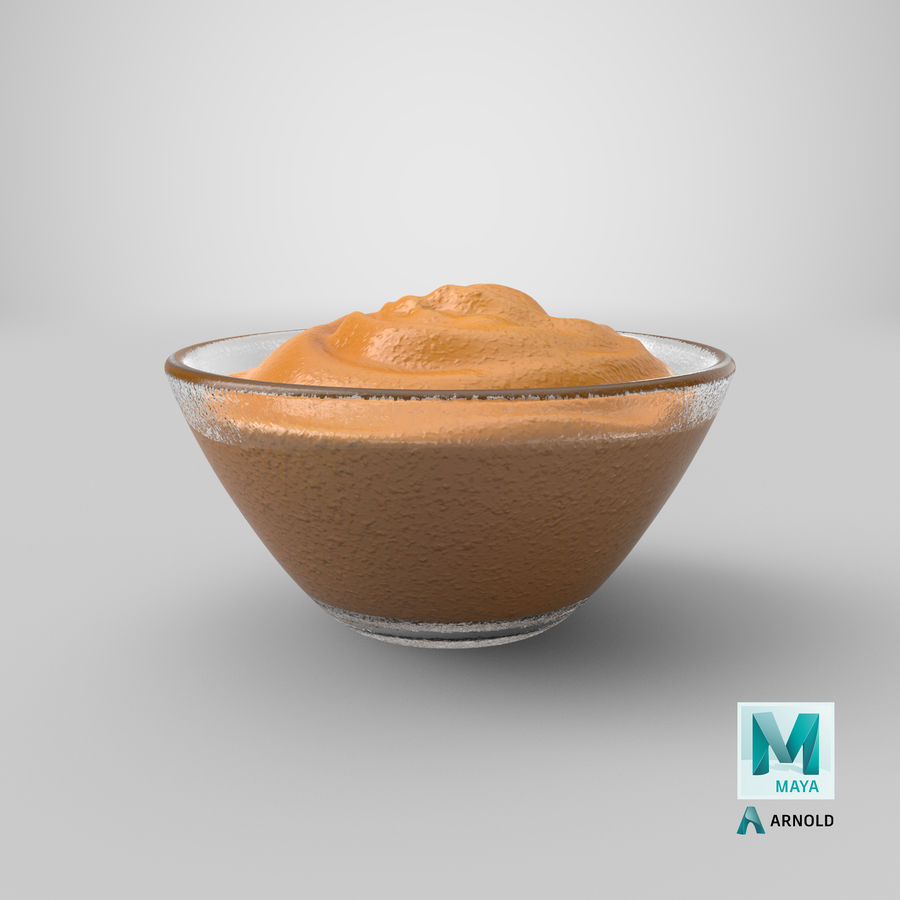 Peanut Butter in Bowl royalty-free 3d model - Preview no. 23