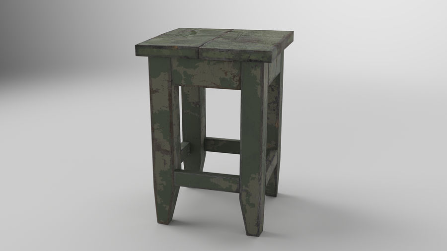 Stool USSR royalty-free 3d model - Preview no. 2