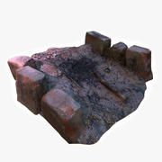 Campfire Place with Extinct Fire 3d model