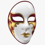 Red Full Face Carnival Mask 3d model