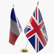 Table Flags United Kingdom and France 3d model